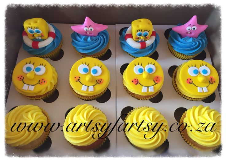 Sponge Bob Square Pants Cupcakes #spongebobsquarepantscupcakes