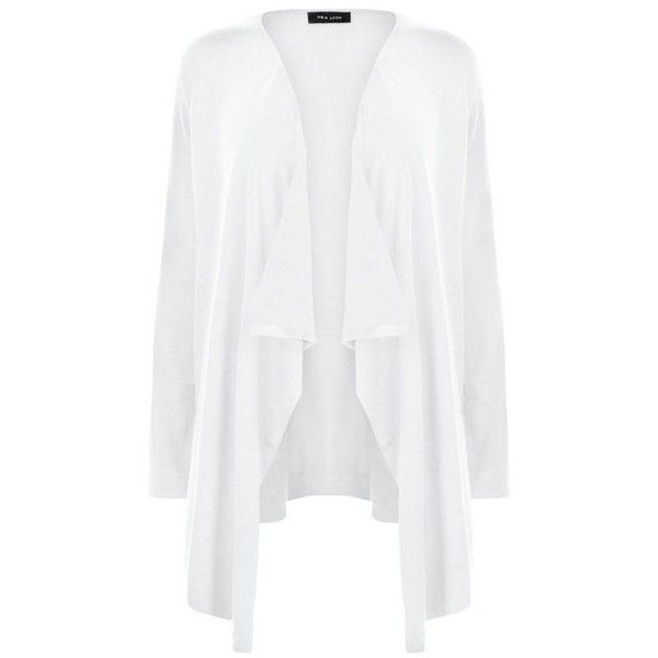 New Look White Waterfall Cardigan ($6.62) ❤ liked on Polyvore featuring tops…