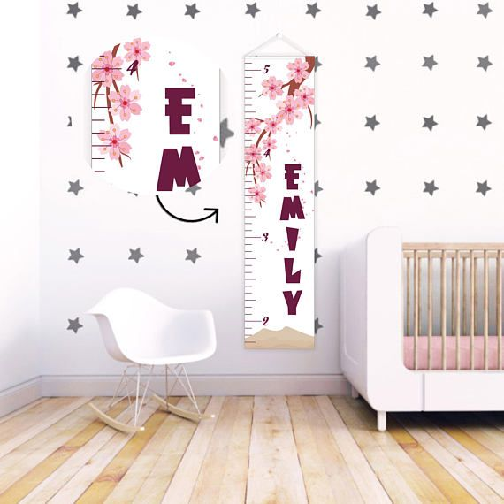 Gift for baby Baby girl Growth Chart Ruler Pink Kids Growth