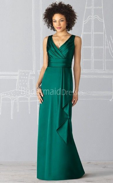 Sexy Charmeuse Trumpet/Mermaid V-neck Floor-length With Criss Cross Bridesmaid Dresses(UKBD03-235) - BridesmaidDressesBuy.co.uk
