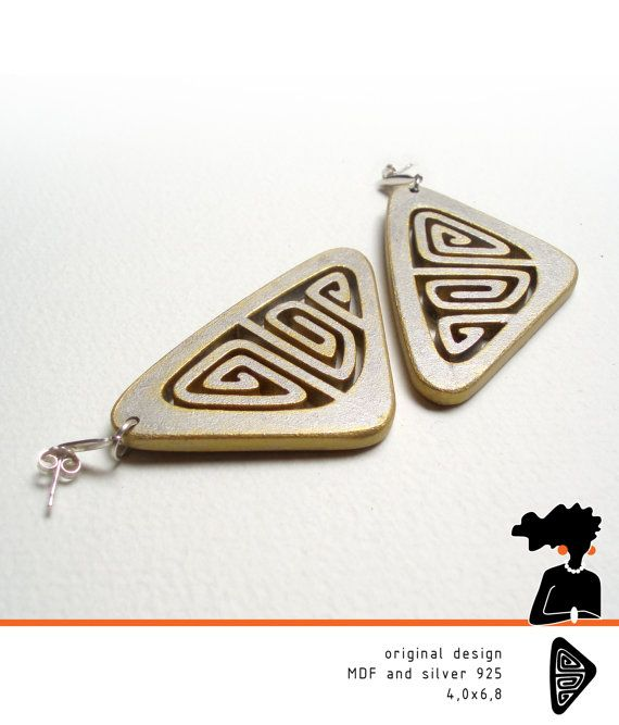 wood jewelry, ETHNIC WOODEN EARRINGS, hand painted, silver and gold tone, sterling silver 925