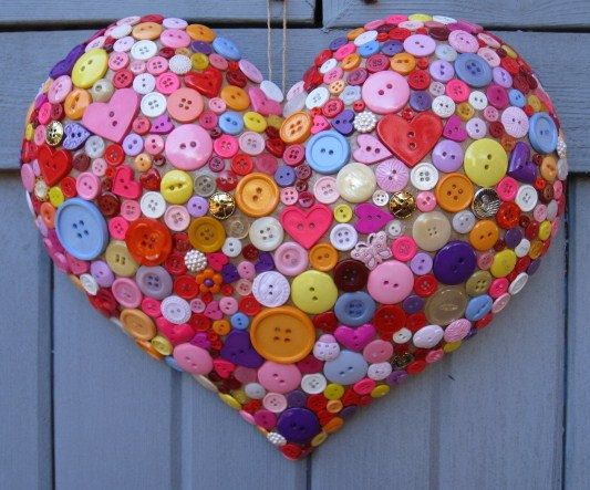 Valentine Decoration  Button Adorned Heart  by AWorkofHeartSA