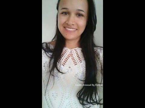 Versão destros: Blusa florata em Crochê (explicação) # Elisa Crochê - YouTube