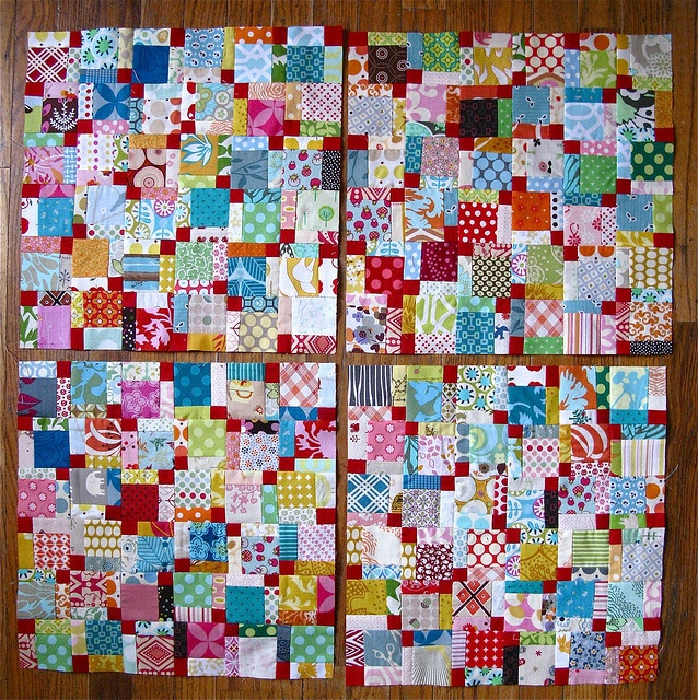 WOW!!! { scrap explosion i } by { philistine made }, via Flickr9 Patches Block, Quilt Ideas, Scrappy Quilts, Clowns Vomit, Scrappy Disappearing, Red Center, Vomit Scrap Quilt, Scrap Explosions, Disappearing 9 Patches