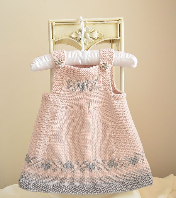 NO SEAMING Baby / Toddlers Easter Pinafore Dress - Knit