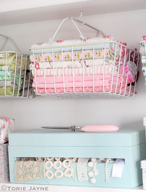 Hanging baskets of fabric   Flickr - Photo Sharing! What I like is the wire basket that you can see into!
