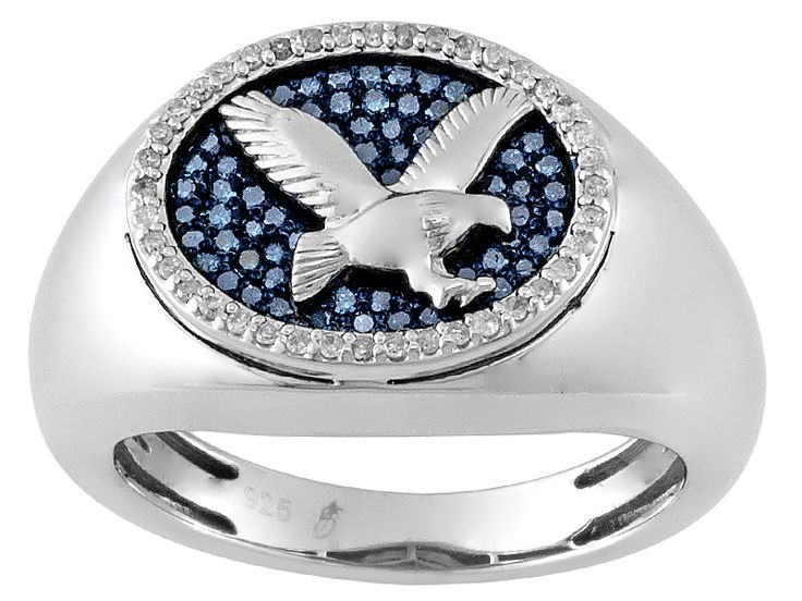 .40ctw Round Blue Velvet Diamond(Tm) And White Diamond Rhodium Over Sterling Silver Gents Ring