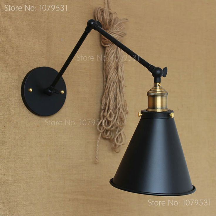 Retro Two Swing Arm Wall Lamp For Bedroom Bedside Adjustable Wall Mount Arm  Lamp Abajur Para