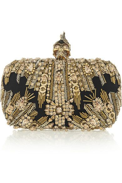 Alexander McQueen                               The Skull Swarovski crystal-embellished box clutch
