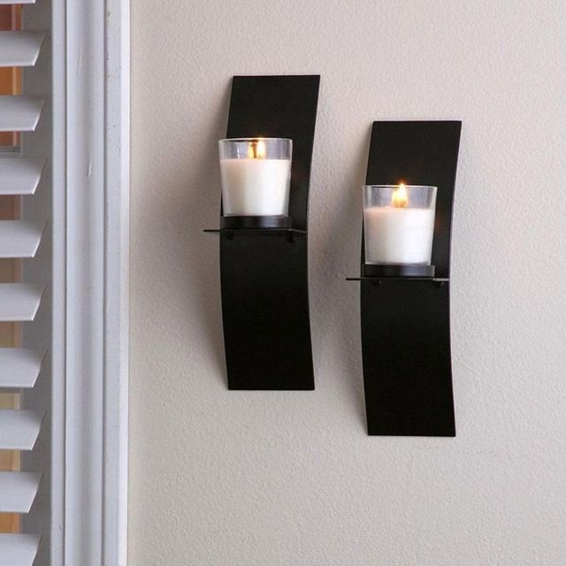 Wall Candle Holders With Glass Cup Black Metal Arc Candlestick Simple Classic Candle Holde Classic Candle Holders Wall Candle Holders Metal Wall Candle Holders