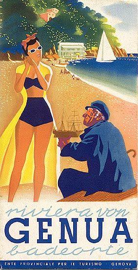 Riviera von Genua. Liguria ,  Genoa, Genova Vintage travel beach poster #liguria www.varaldocosmetica.it .