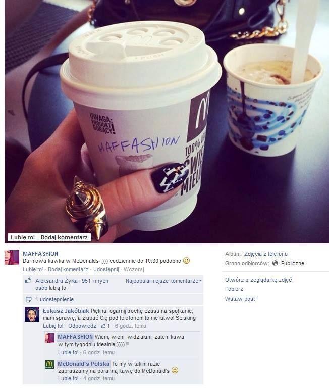 Mc Donald's sprytnie włącza się do dyskusji pomiędzy blogerami :) Monitoring marki level master. #RTM #RealTimeMarketing #McDonalds
