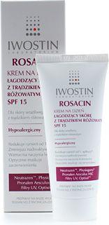 Iwostin, Krem na dzień łagodzący skórę z trądzikiem różowatym SPF 15, Cena: 40 zł / 40 ml Krem mniejsza nadreaktywność skóry i redukuje objawy odpowiedzi zapalnej, wzmacnia naczynia krwionośne oraz barierę ochronną skóry poprzez stymulację rozwoju korzystnej flory bakteryjnej skóry. Zawiera korektor optyczny Optisol™, który maskuje zaczerwienienia i niedoskonałości skóry iI chroni przed promieniowaniem UV. Redukuje rumień już od 1. Aplikacji.