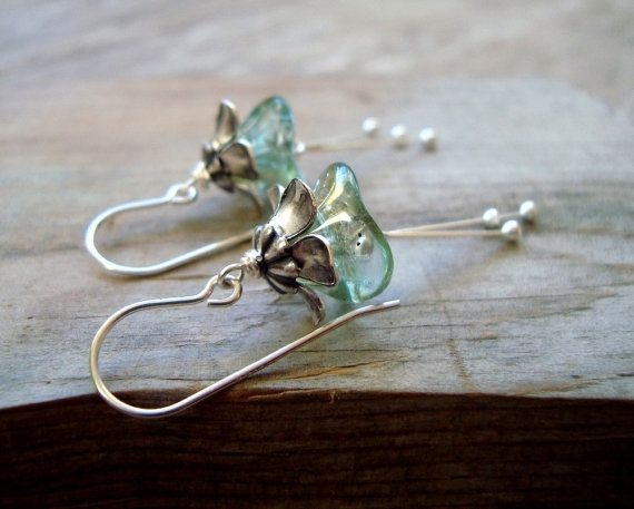 Winter Blossoms Earrings Flower Jewelry Holiday Jewelry Bridal Jewelry Vintage Style Aqua Green Sterling Silver