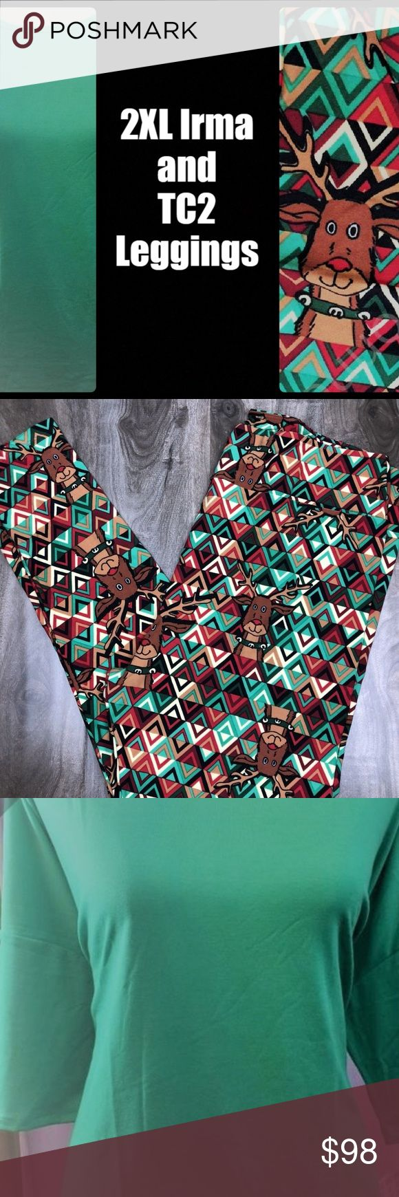2 pc OUTFIT🍬 LLR Christmas TC Legging & 2x Irma ❄️SAME DAY SHIPPING & HANDLING❄️  🎄2 Piece Outfit GORGEOUS🍬  LuLaRoe 3xl IRMA Soft & stretchy Dolman sleeves Long Tunic length perfect for leggings and ❄️ TC Leggings Christmas 2017 Holiday Reindeer diamonds green brown White Red Black Rudolph (See sizing chart in photos) LuLaRoe Other