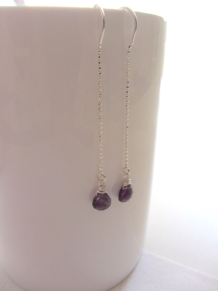 Amethyst Threader Earrings,Amythest Earrings, February Birthday, February Gemstone, Purple Amethyst Earrings-So Comfortable by OrganicDesign on Etsy https://www.etsy.com/listing/265111585/amethyst-threader-earringsamythest