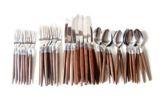 $120 - Etsy - 46 Piece Ecko Eterna Canoe Muffin Flatware Set Mid Century Modern Forks Spoons Knives