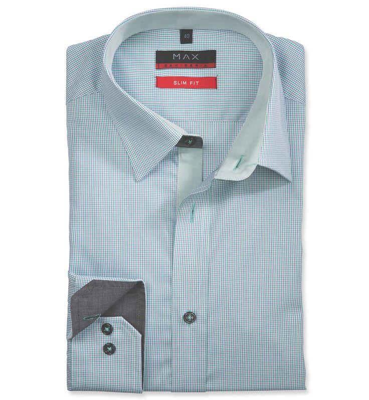Slim Fit priliehavá zelená vzorovaná košeľa Popelín (plátnová tkanina)