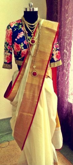 floral print blouses with traditional sarees