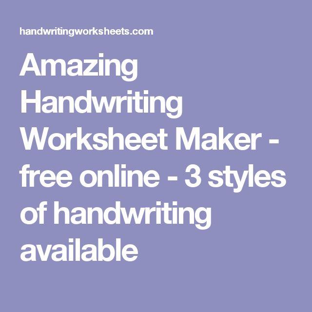 Handwriting worksheet maker free