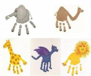 animales dibujadas con las palmas de las manos