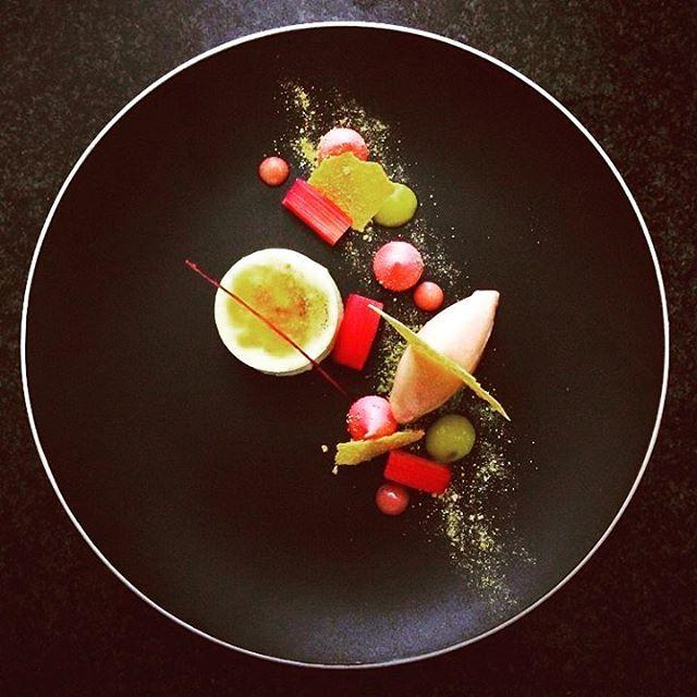 Ginger custard, rhubarb sorbet, orange meringue and orange powder by @shoznasty posted via #ChefsTalk
