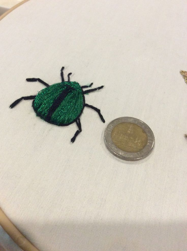 Green bug embroidery