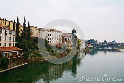 The Ponte Vecchio (or Ponte degli Alpini) on the Brenta river in the old town of Bassano del Grappa, Veneto, Italy.