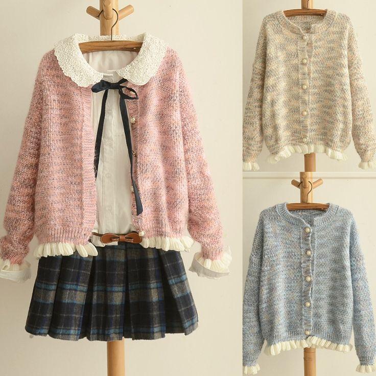 Pink/Beige/Blue Mori Girl Knitted Sweater Cardigan Coat SP153471