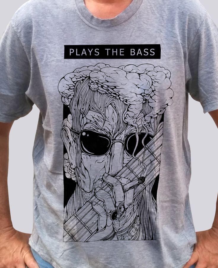 Head in Smoke - Plays the Bass - Grey Shirt