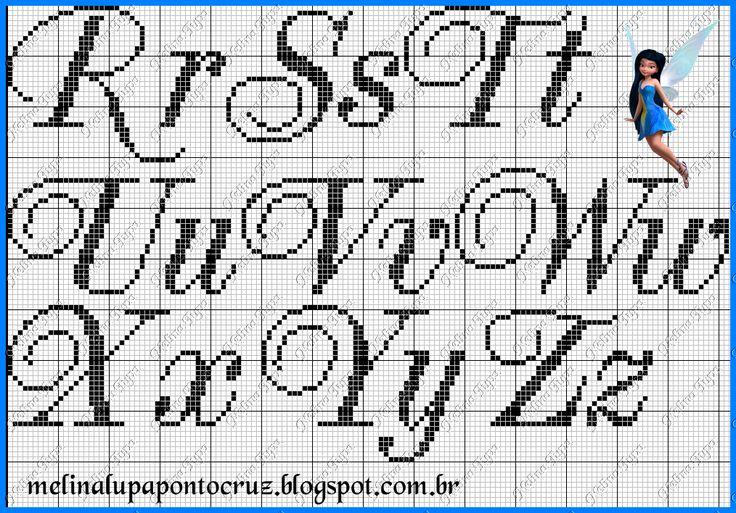 Cross-stitch Script ABCs, part 3... Detalhes que Encantam: Toalha de Lavabo Bombardão e Monograma