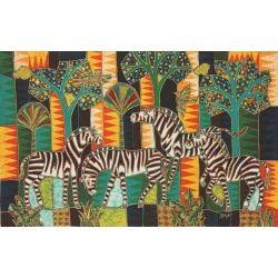 Batik Fabric Panel by Mahyar, Line Zebras (wide)