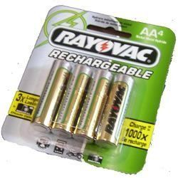 RechargEable NiMH Batteries (2500 mAh NiMH AA 4-pk)NM7154 by Rayovac. $11.49. CAN BE CHARGED UP TO 1000 TIMES LAST 2X LONGER THAN ALKALINES IN DIGITAL CAMERAS IDEAL FOR HIGH-DRAIN DEVICES LIKE PDAS NO MEMORY EFFECTS  NIMH BATTERIES ARE RECOMMENDED BY LEADING DIGITAL CAMERA MANUFACTURERS  4-PK AA 2500 MAH. Save 28%!