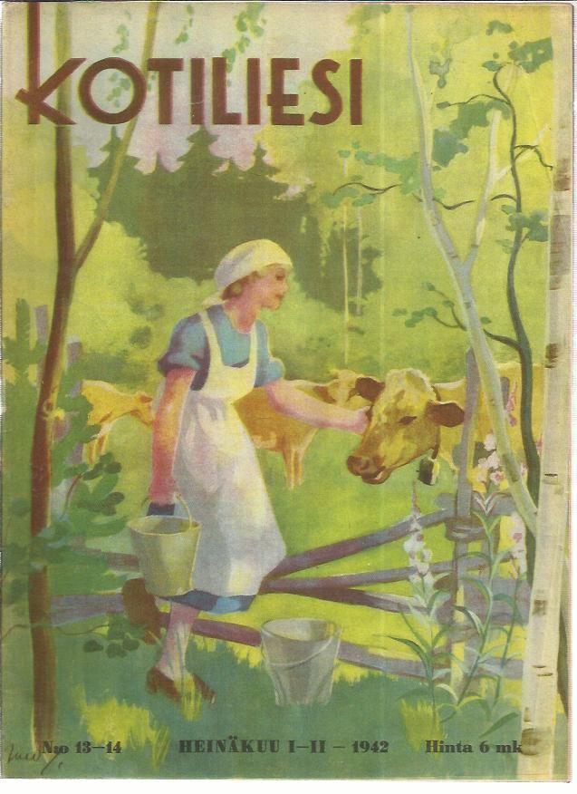 Kotiliesi Magazine cover by Martta Wendelin, 1942.