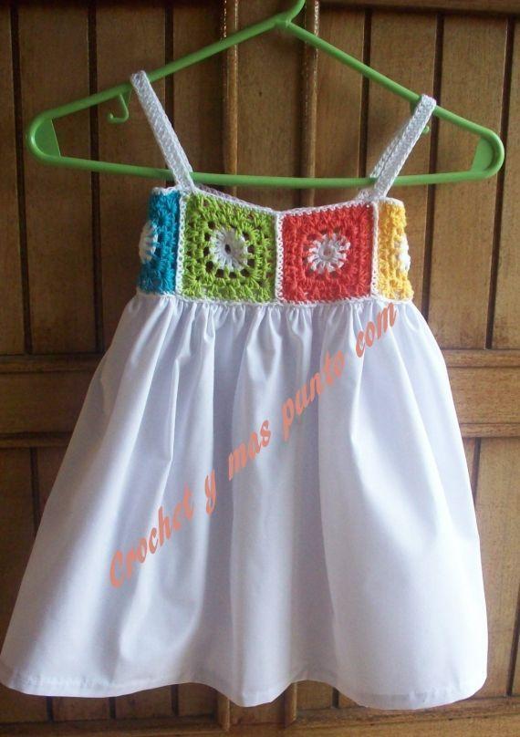 "solerita con crochet [   ""polleritas de nena en tela - granny squares bodice dress for girls"",   "" Note to self: Measure chest. Crochet 6 squares that equals same measurement. Get fabric for twice that same measurement."",   ""very adaptable idea"" ] #<br/> # #Granny #Squares,<br/> # #Girls #Dresses,<br/> # #Little #Girl #Dresses,<br/> # #Cute #Dresses,<br/> # #Little #Girls,<br/> # #Sewing,<br/> # #Kids,<br/> # #Dress #Vestidos,<br/> # #So #Alone<br/>"