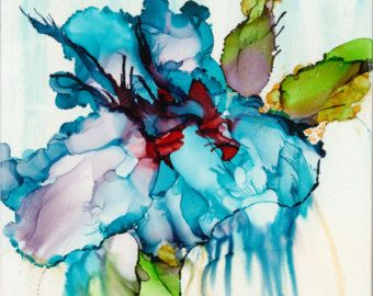 Alcohol Ink Art Scarlet Blooms On Watercolor Paper With Matt Ink
