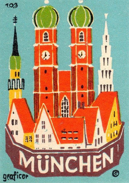 Vint6age Travel Poster - München - Germany.