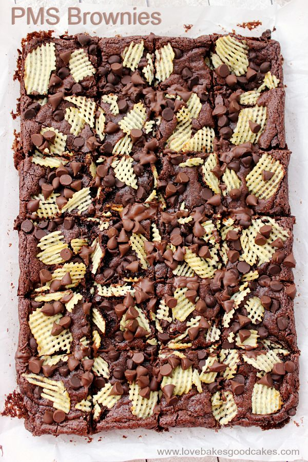 These PMS Brownies have a little bit of chocolate and a little bit of salty crunch. They're the perfect treat to get you through that time of the month ... or any time you're craving a sweet-salty combo! #ChipLove #ad