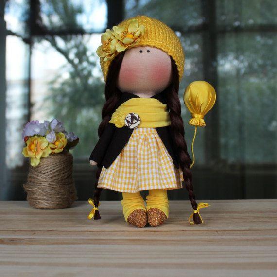 Melanie Doll-hechos a mano textiles muñeca muñeca por CozyDollsShop