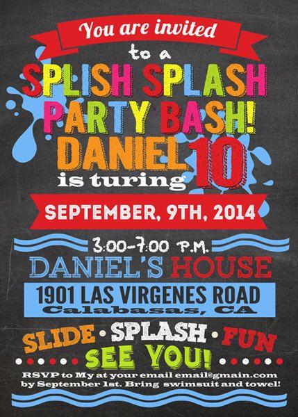Splish splash party bash chalkboard invitation, digital files ONLY by StylishShapes on Etsy https://www.etsy.com/listing/199586270/splish-splash-party-bash-chalkboard