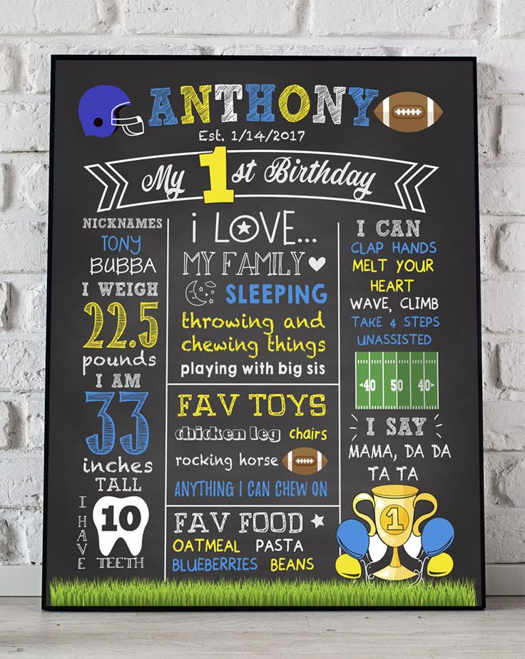 Football First Birthday Boy Chalkboard, 1st Birthday Chalkboard Sign, First Birthday Chalkboard Boy, First Birthday Chalkboard PRINTABLE