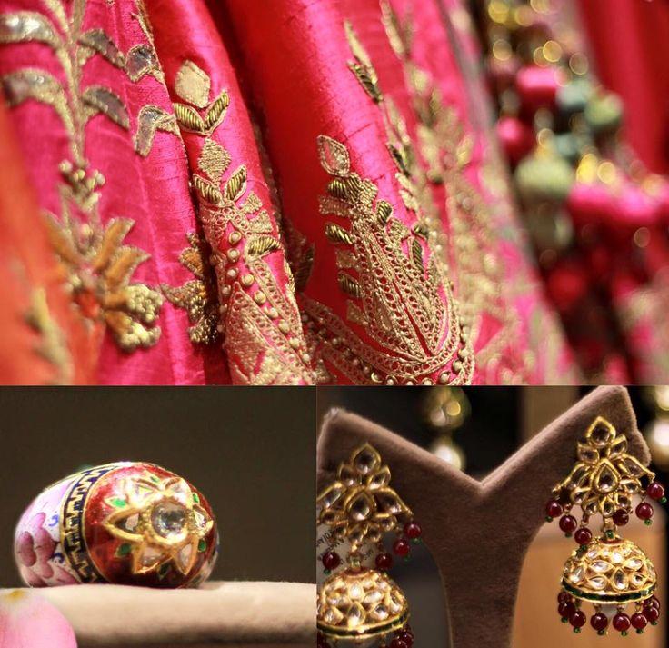 Pink blush romance.  #AnitaDongre #lehenga #pinkcity Jet Gems #WeddingInspiration #gotapatti #Rajasthan #Jaipur #Bride