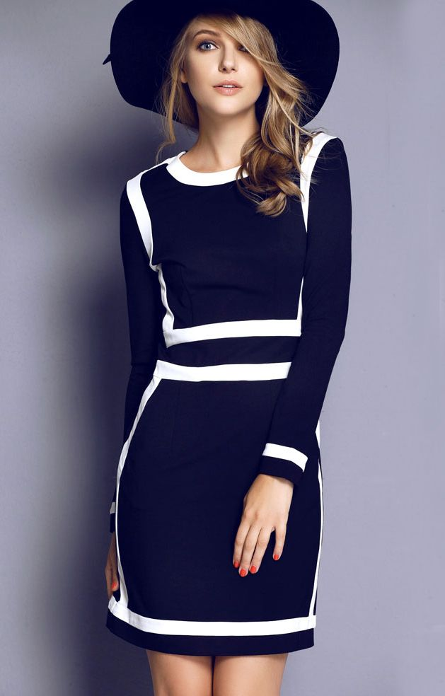 Blue Long Sleeve Contrast Trims Bodycon Dress US$59.99