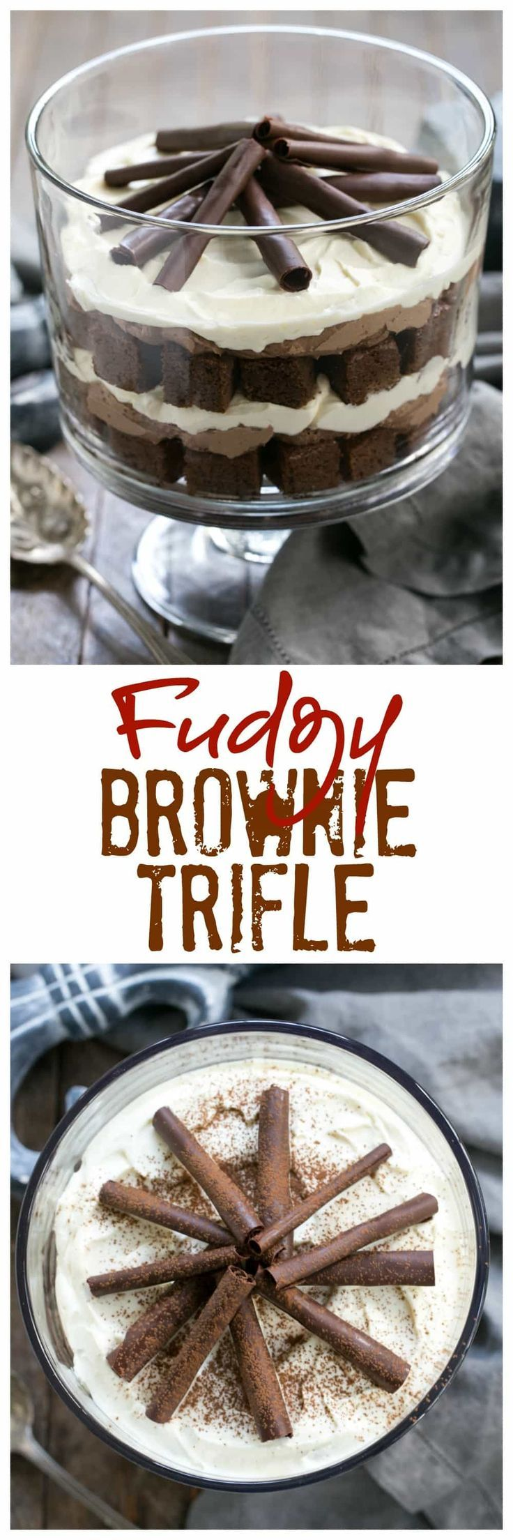 Fudgy Brownie Trifle with Chocolate Mousse   3 outrageously delicious layers plus chocolate curls! #SundaySupper #Trifle #chocolate @lizzydo