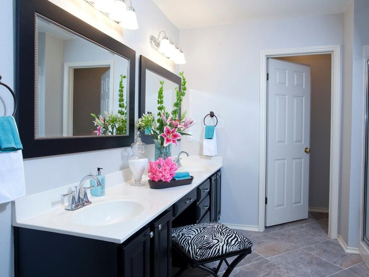 Double Sink Vanity with chair in between for getting ready  Photos | Property Brothers Drew and Jonathan Scott on HGTV's Buying and Selling | HGTV