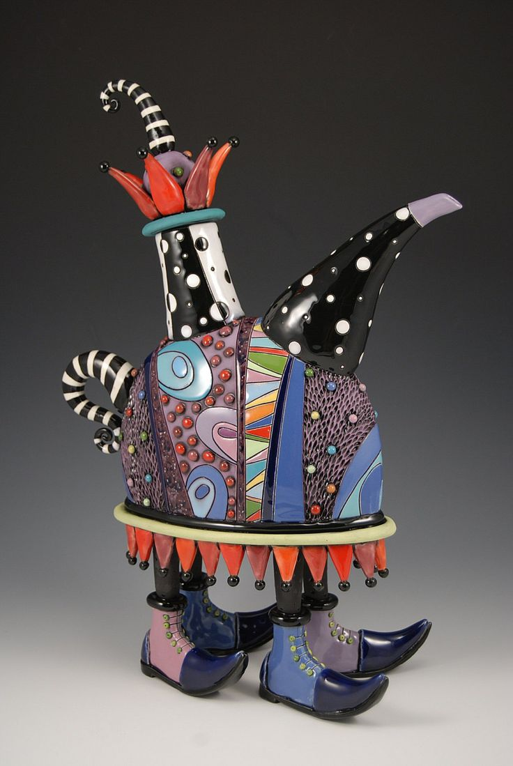 Jester+Teapot+with+Purple+Shoes+by+natalyasots+on+Etsy,+$1,295.00