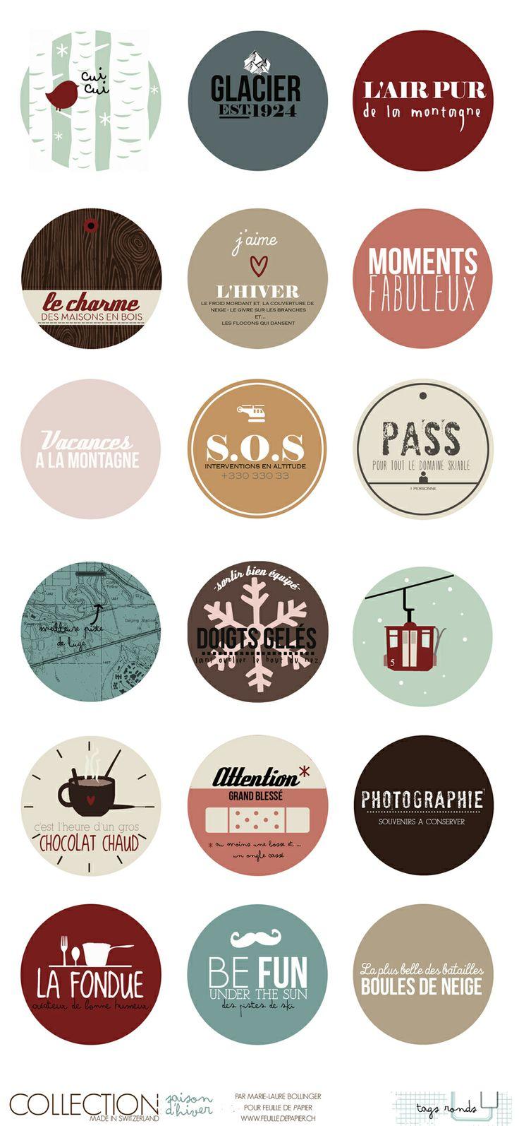 Tags ronds à imprimer thème Hiver