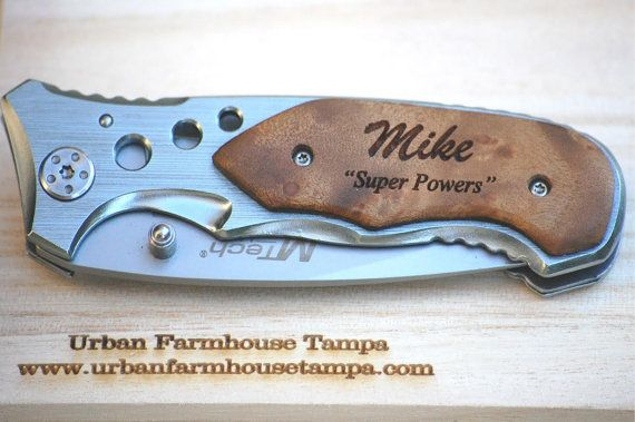 Gifts for Men 2 Custom Pocket Knives by UrbanFarmhouseTampa