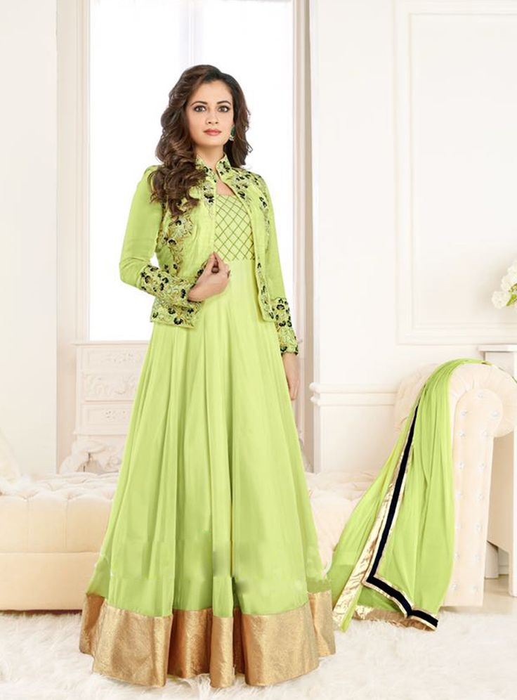 Dia Mirza Green Georgette Anarkali Suit With Jacket 81323