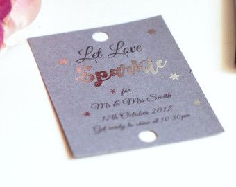 Let love sparkle tags, Wedding tags, wedding sparkler tags, tags for sparklers, celebration wedding labels, foiled wedding tags